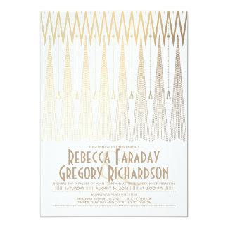 Blanc d'art déco et mariage chic de Gatsby d'or Carton D'invitation 12,7 Cm X 17,78 Cm