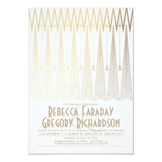 Blanc d'art déco et mariage géométrique élégant carton d'invitation  12,7 cm x 17,78 cm
