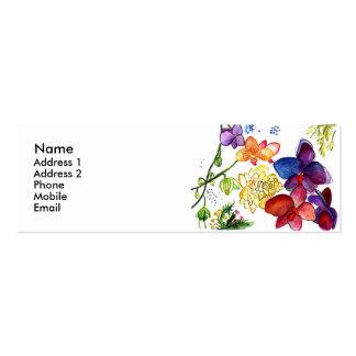 Blanc de carte de profil d'amusement d'orchidée carte de visite petit format