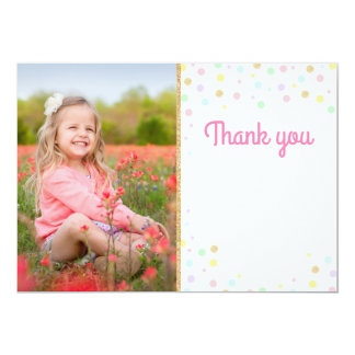 Blanc de confettis de rose de carte photo de Merci