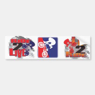 Blanc de cycliste de BMX et bleu rouges Autocollant De Voiture