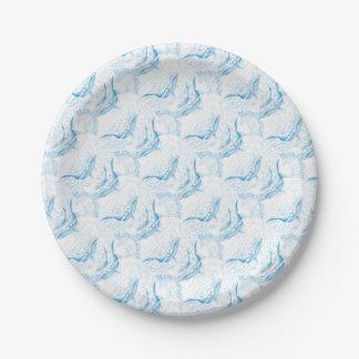 Blanc de famille de baleines bleues assiettes en papier