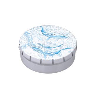Blanc de famille de baleines bleues boites de bonbons jelly belly
