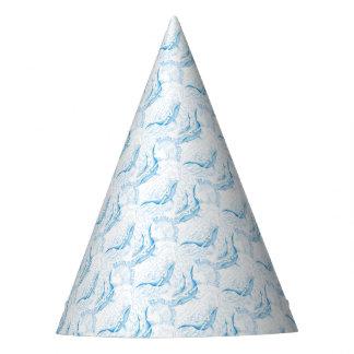 Blanc de famille de baleines bleues chapeaux de fètes