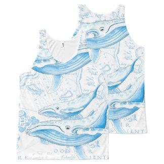 Blanc de famille de baleines bleues débardeur tout-imprimé