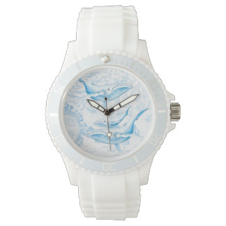Blanc de famille de baleines bleues montres bracelet
