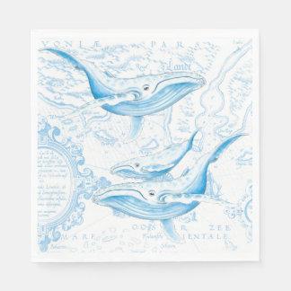 Blanc de famille de baleines bleues serviettes jetables