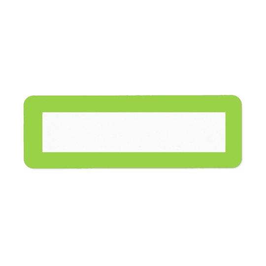 Blanc de frontière de couleur solide de vert de ch étiquettes d'adresse retour