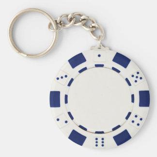 blanc de jeton de poker porte-clé rond