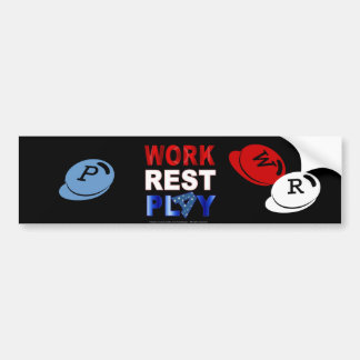 Blanc de jeu de travail-repos et bleu rouges autocollant de voiture