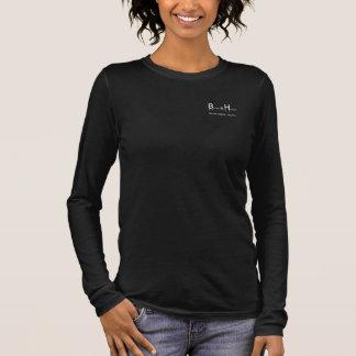Blanc de logo de BHWT sur V noir - douille du cou T-shirt À Manches Longues