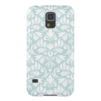 Blanc de motif de damassé de Flourish grand sur le Coques Galaxy S5