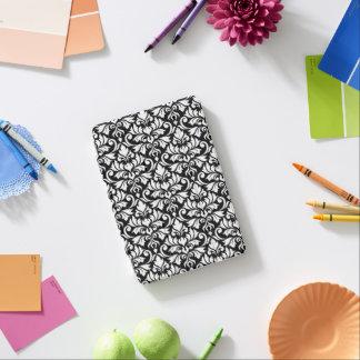 Blanc de motif de damassé de Flourish sur le noir Protection iPad Mini