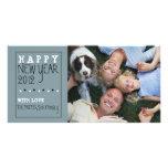 Blanc de noir bleu de croquis d'amusement de bonne cartes de vœux avec photo