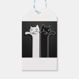 Blanc de noir de chats de texture étiquettes-cadeau