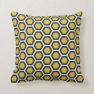 Blanc de noir de jaune de moutarde de motif de nid oreillers