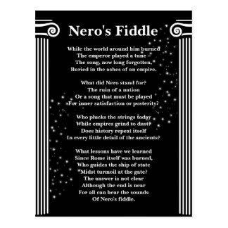 Blanc de poème du violon de Nero sur le noir Cartes Postales