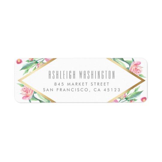 Blanc de roses de rose d'aquarelle et mariage étiquette d'adresse retour