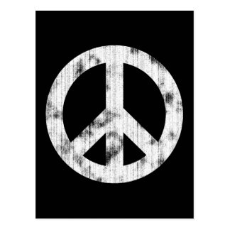 Blanc de signe de paix affligé carte postale