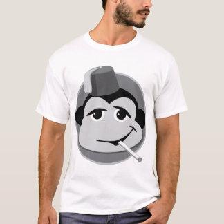 Blanc de tabagisme de T-shirt de singe