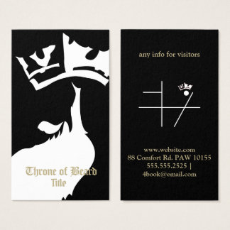 Blanc de trône sur le carte de visite noir