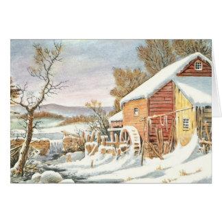 Blanc démodé vintage de carte de Noël à