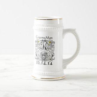 Blanc effréné de lion vintage avec des couronnes chope à bière