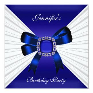 Blanc élégant de bijou de bleu royal d'invitation