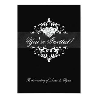 Blanc élégant de noir de coeur de bijou carton d'invitation  12,7 cm x 17,78 cm