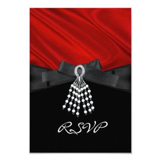 Blanc en soie rouge de noir de bijou de fête carton d'invitation 8,89 cm x 12,70 cm