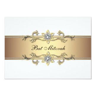 Blanc et bat mitzvah d'or carton d'invitation  12,7 cm x 17,78 cm