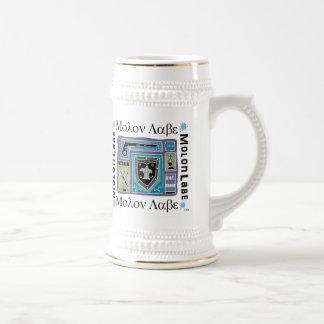 Blanc et bière Stein d'or avec le logo de Molon Chope À Bière