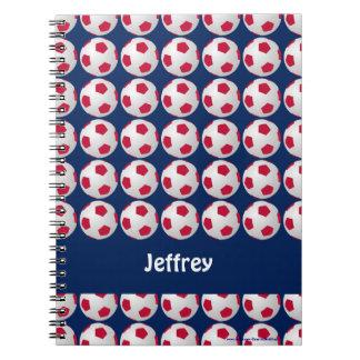 , Blanc, et bleu carnet personnalisé par football