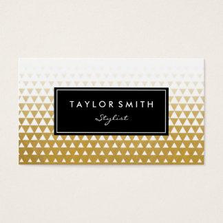 Blanc et carte de visite de motif de triangle d'or