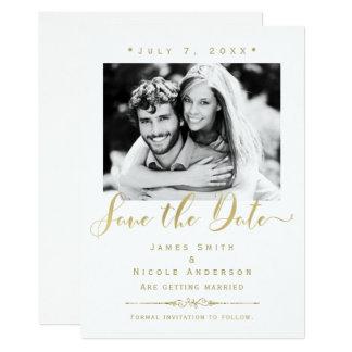 Blanc et économies modernes de mariage de photo carton d'invitation  12,7 cm x 17,78 cm