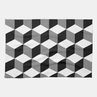Blanc et gris de noir de motif de cube serviettes pour les mains