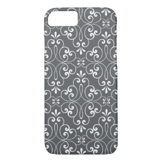 Blanc et gris fleuris à la mode de motif de coque iPhone 7