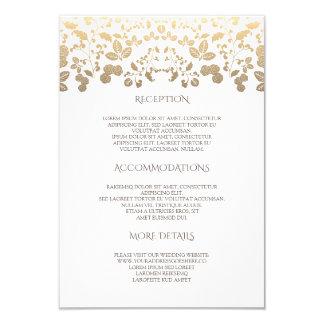 Blanc et information de détails florale de mariage carton d'invitation 8,89 cm x 12,70 cm
