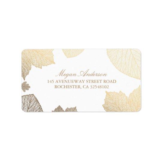 blanc et mariage de automne de feuille d'or étiquettes d'adresse