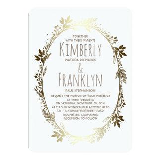 Blanc et mariage floral de guirlande d'or carton d'invitation  12,7 cm x 17,78 cm