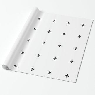Blanc et papier d'emballage de Black Fleur De Lis Papier Cadeau Noël