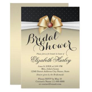 Blanc et ruban d'or avec la douche nuptiale de carton d'invitation  12,7 cm x 17,78 cm