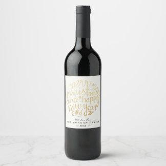 Blanc et typographie de Noël et de bonne année Étiquette Pour Bouteilles De Vin