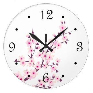 Blanc floral de rose de fleurs de cerisier grande horloge ronde