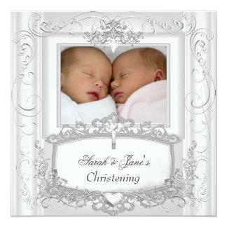 Blanc jumeau de baptême de baptême de bébé ou de carton d'invitation  13,33 cm