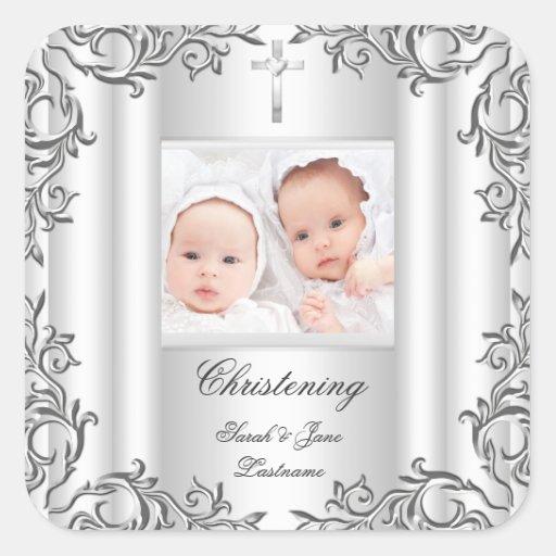 Blanc jumeau de baptême de baptême de garçon de sticker carré