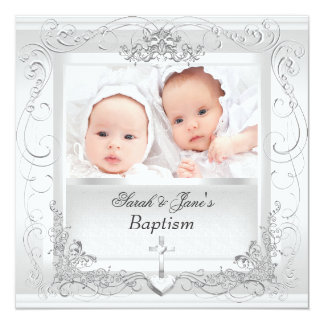 Blanc jumeau de baptême de baptême de garçon de carton d'invitation  13,33 cm