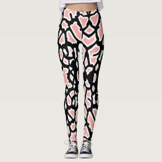 Blanc Legging de noir de rose de motif de girafe