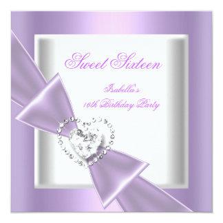 Blanc lilas de sweet sixteen de partie du bonbon carton d'invitation  13,33 cm