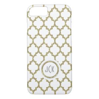 Blanc moderne et or et scintillement Quatrefoil Coque iPhone 7